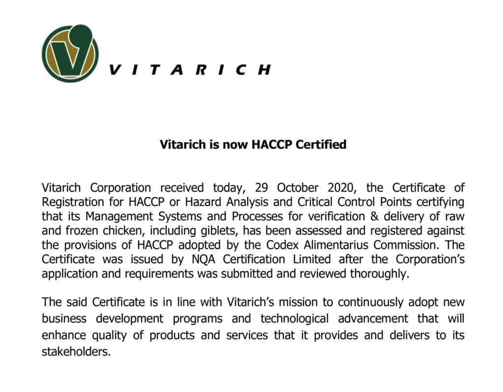 Vitarich Corporation received HACCP Certification on October 29, 2020